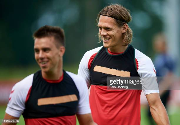 Jonas Knudsen and Jannik Vestergaard of Denmark during the Denmark training session Helsingor Stadion on May 28 2018 in Helsingor Denmark