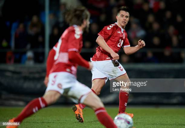 Jonas Knudsen of Denmark in action during the International friendly match between Denmark and Chile at Aalborg Stadion on March 27 2018 in Aalborg...