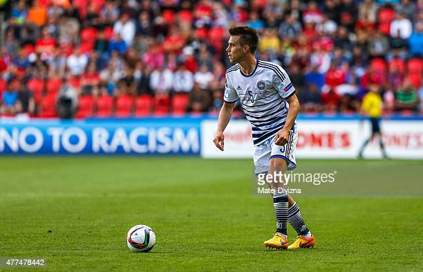 Jonas Knudsen of Denmark in action during UEFA U21 European Championship Group A match between Czech Republic and Denmark at Eden Stadium on June 17...
