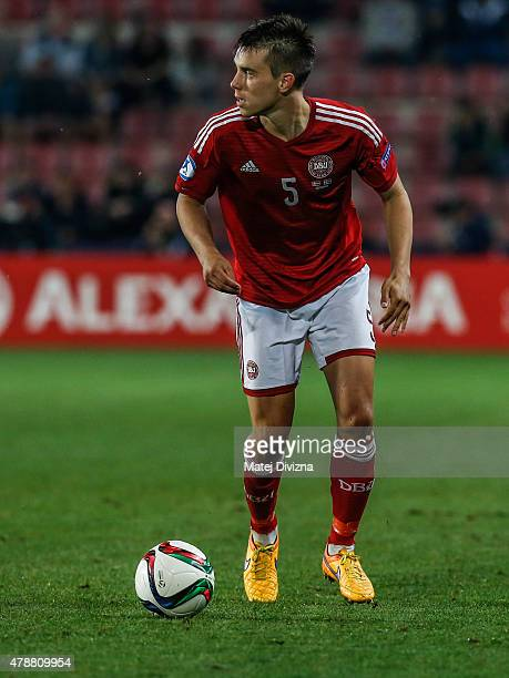 Jonas Knudsen of Denmark in action during UEFA U21 European Championship semi final match between Denmark and Sweden at Generali Arena on June 27...