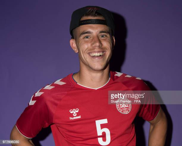 Jonas Knudsen of Denmark poses for a picture during the official FIFA World Cup 2018 portrait session at on June 12 2018 in Anapa Russia