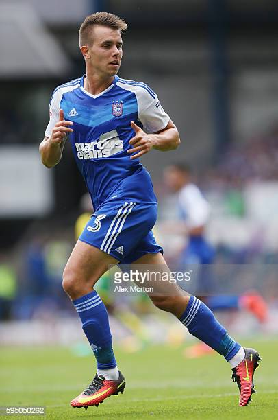 Jonas Knudsen of Ipswich during the Sky Bet Championship match between Ipswich Town and Norwich City at Portman Road on August 21 2016 in Ipswich...