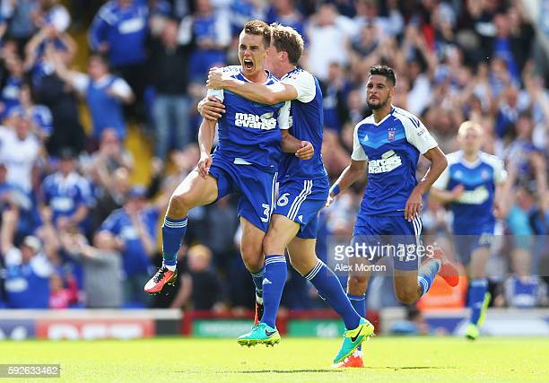 Jonas Knudsen of Ipswich Town celebrates scoring his team's opening goal with team mates during the Sky Bet Championship match between Ipswich Town...