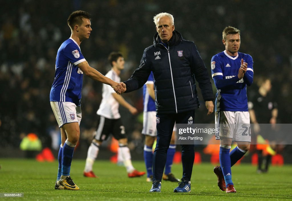 Jonas Knudsen shakes hands with his manager Mick McCarthy during the Sky Bet Championship match between Fulham and Ipswich Town at Craven Cottage on January 2, 2018 in London, England.