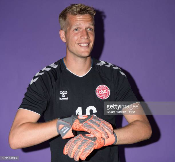 Jonas Loessl of Denmark poses for a picture during the official FIFA World Cup 2018 portrait session at on June 12 2018 in Anapa Russia