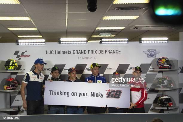 Jonas Loris Baz of France and Avintia Racing Jonas Folger of Germany and Monster Yamaha Tech 3 Marc Marquez of Spain and Repsol Honda Team Valentino...