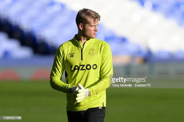 Jonas Lossl of Everton before the FA Cup Third Round match between Everton and Rotherham United at Goodison Park on January 9 2021 in Liverpool,...