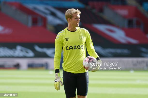 Jonas Lossl of Everton before the Premier League match between Southampton and Everton at St Mary's Stadium on October 25 2020 in Southampton England