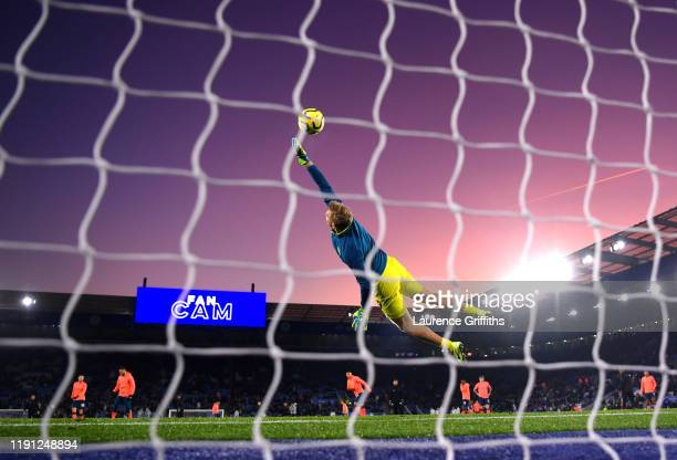 Jonas Lossl of Everton makes a save during the warm up prior to the Premier League match between Leicester City and Everton FC at The King Power...
