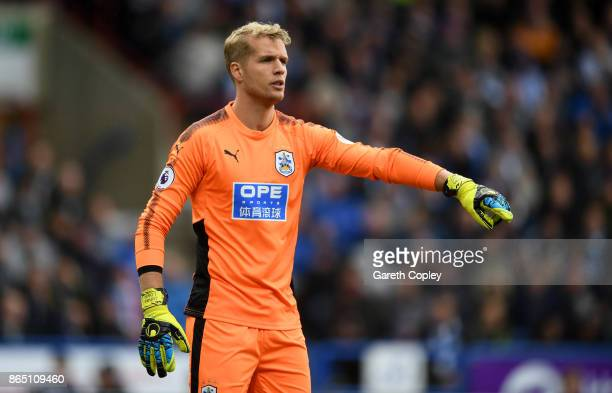 Jonas Lossl of Huddersfield during the Premier League match between Huddersfield Town and Manchester United at John Smith's Stadium on October 21...