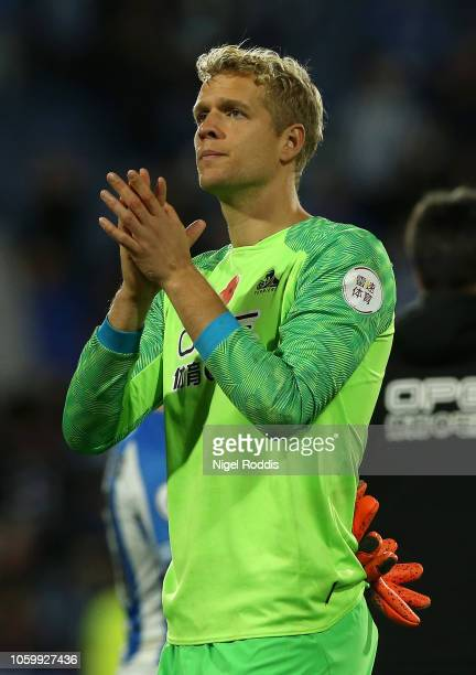 Jonas Lossl of Huddersfield Town applauds fans after the Premier League match between Huddersfield Town and West Ham United at the John Smith's...