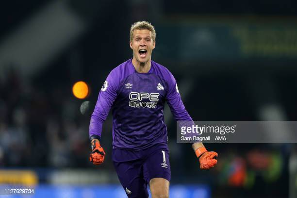 Jonas Lossl of Huddersfield Town celebrates during the Premier League match between Huddersfield Town and Wolverhampton Wanderers at John Smith's...