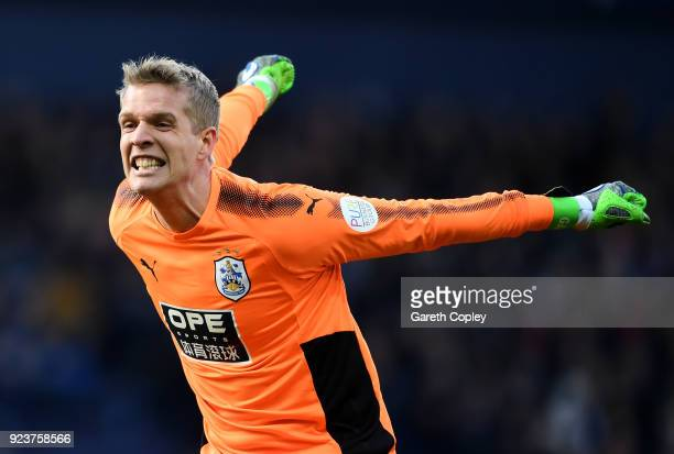 Jonas Lossl of Huddersfield Town celebrates his side's second goal during the Premier League match between West Bromwich Albion and Huddersfield Town...