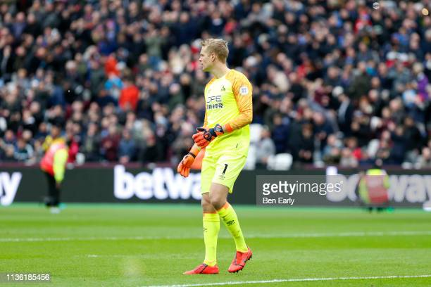 Jonas Lossl of Huddersfield Town during the Premier League match between West Ham United and Huddersfield Town at London Stadium on March 16, 2019 in...