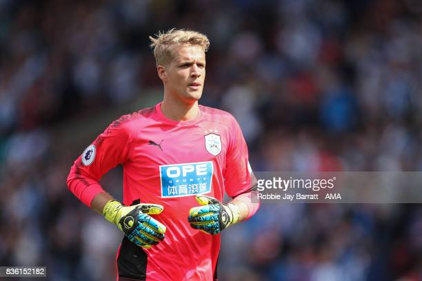 Jonas Lossl of Huddersfield Town during the Premier League match between Huddersfield Town and Newcastle United at Galpharm Stadium on August 20 2017...