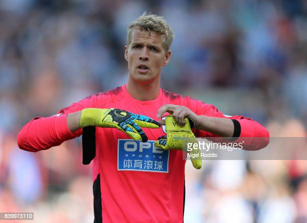 Jonas Lossl of Huddersfield Town during the Premier League match between Huddersfield Town and Southampton at Galpharm Stadium on August 26 2017 in...