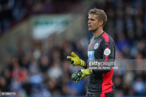 Jonas Lossl of Huddersfield Town during the Premier League match between Huddersfield Town and West Bromwich Albion at John Smith's Stadium on...