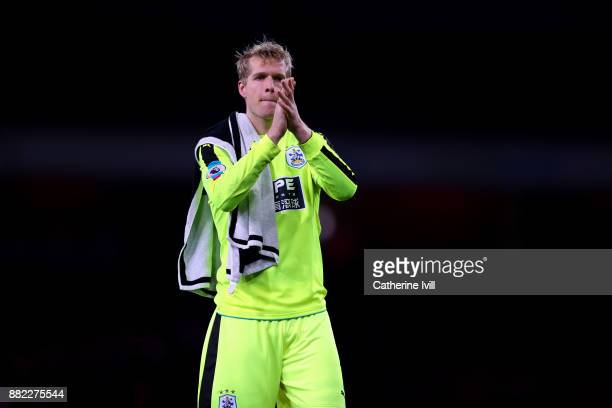 Jonas Lossl of Huddersfield Town during the Premier League match between Arsenal and Huddersfield Town at Emirates Stadium on November 29 2017 in...