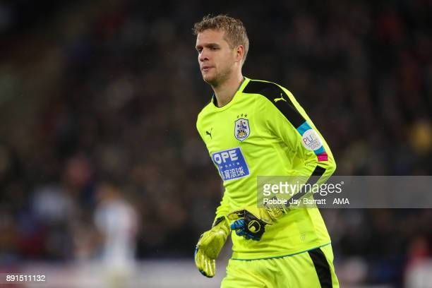 Jonas Lossl of Huddersfield Town during the Premier League match between Huddersfield Town and Chelsea at John Smith's Stadium on December 12 2017 in...