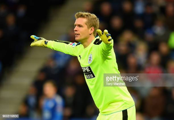 Jonas Lossl of Huddersfield Town during the Premier League match between Leicester City and Huddersfield Town at The King Power Stadium on January 1...