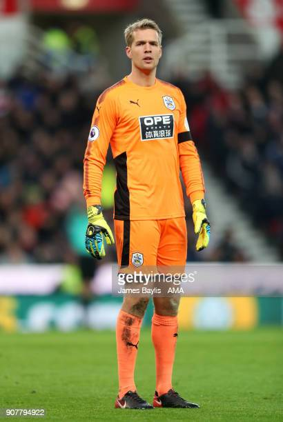 Jonas Lossl of Huddersfield Town during the Premier League match between Stoke City and Huddersfield Town at Bet365 Stadium on January 20 2018 in...