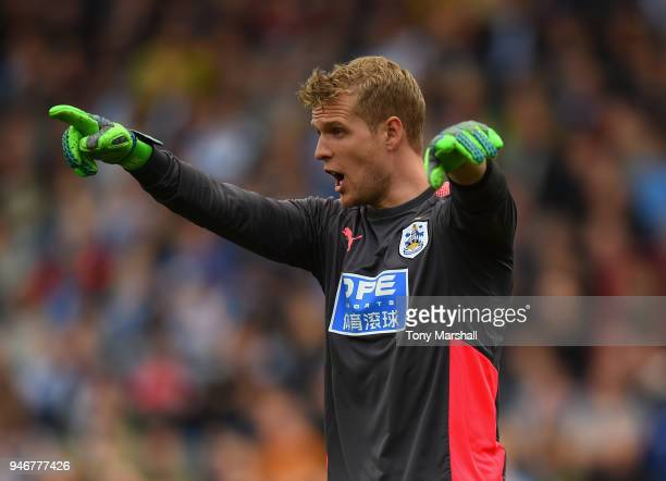 Jonas Lossl of Huddersfield Town during the Premier League match between Huddersfield Town and Watford at John Smith's Stadium on April 14 2018 in...