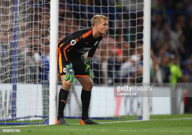 Jonas Lossl of Huddersfield Town during the Premier League match between Chelsea and Huddersfield Town at Stamford Bridge on May 9 2018 in London...