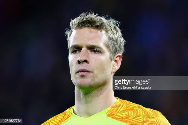 Jonas Lossl of Huddersfield Town looks on during the Premier League match between Huddersfield Town and Southampton FC at John Smith's Stadium on...