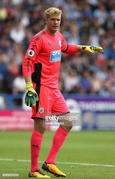 Jonas Lossl of Huddersfield Town looks on during the Premier League match between Huddersfield Town and Newcastle United at John Smith's Stadium on...