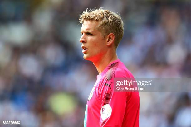Jonas Lossl of Huddersfield Town looks on during the Premier League match between Huddersfield Town and Southampton at the John Smith's Stadium on...