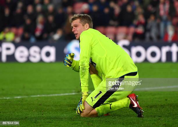 Jonas Lossl of Huddersfield Town looks on during the Premier League match between Southampton and Huddersfield Town at St Mary's Stadium on December...