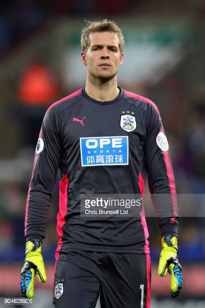 Jonas Lossl of Huddersfield Town looks on during the Premier League match between Huddersfield Town and West Ham United at John Smith's Stadium on...