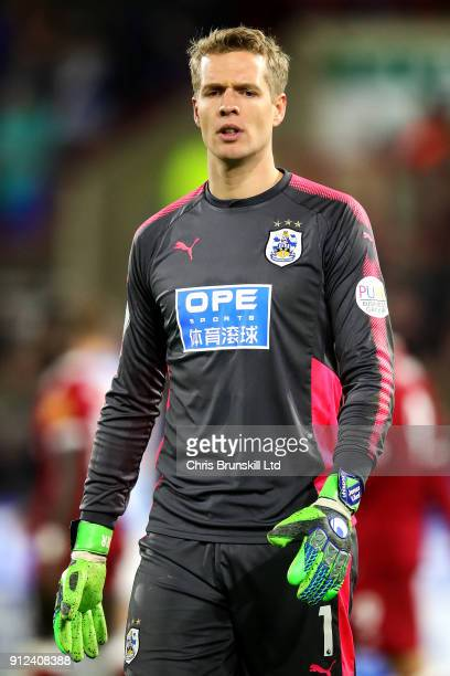 Jonas Lossl of Huddersfield Town looks on during the Premier League match between Huddersfield Town and Liverpool at John Smith's Stadium on January...