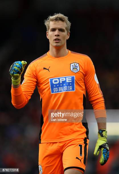 Jonas Lossl of Huddersfield Town reacts during the Premier League match between AFC Bournemouth and Huddersfield Town at Vitality Stadium on November...