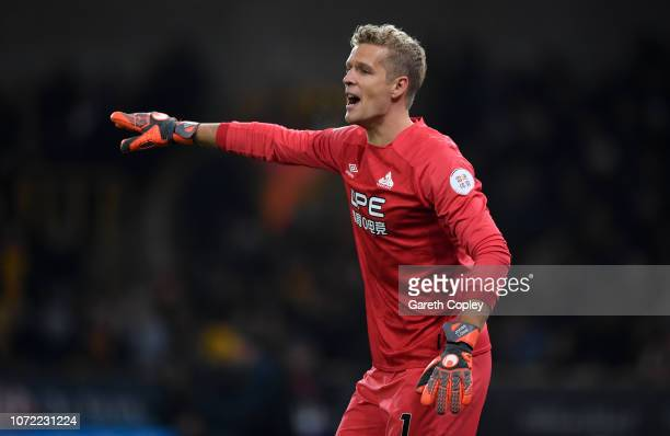 Jonas Lössl of Huddersfield during the Premier League match between Wolverhampton Wanderers and Huddersfield Town at Molineux on November 25 2018 in...