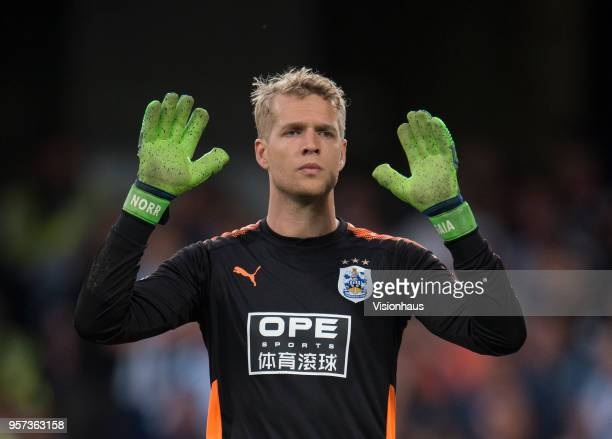 Jonas Lössl of Huddersfield during the Premier League match between Chelsea and Huddersfield at Stamford Bridge on May 9 2018 in London England