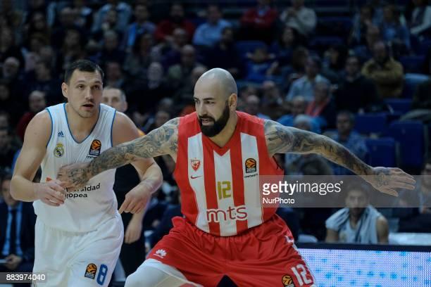 Jonas Maciulis #8 of Real Madrid competes against ANTIC PERO of Crvena Zvezda Mts Belgrade during the 2017/2018 Turkish Airlines Euroleague Regular...