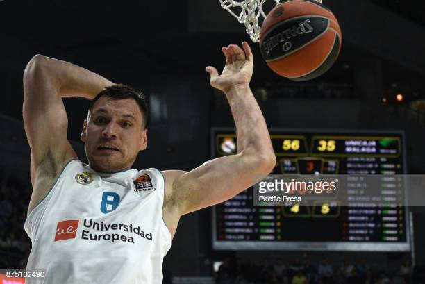 Jonas Maciulis of Real Madrid in action during the Euroleague basketball match between Real Madrid and Unicaja Málaga played at WiZink center in...