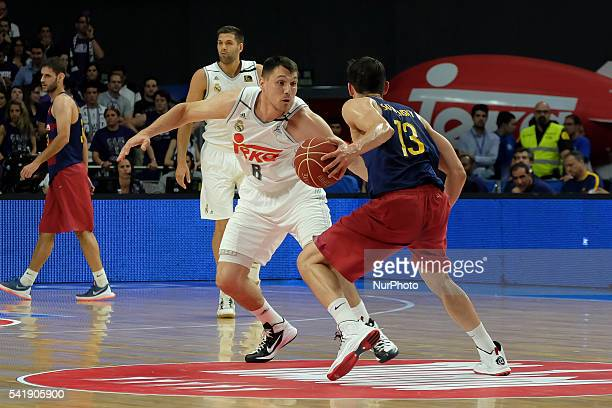 jonas maciulis of Real Madrid in action during the play off round 3 match between FC Barcelona Lassa and Real Madrid at Barclaycard Center in Madrid...