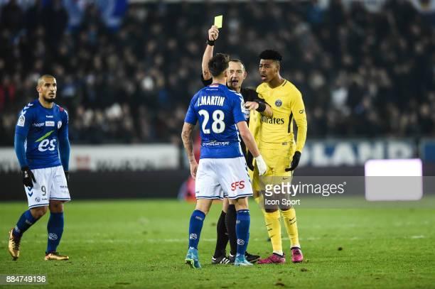 Jonas Martin of Starsbourg and Presnel Kimpembe of PSG during the Ligue 1 match between Strasbourg and Paris Saint Germain at La Meinau Stadium on...