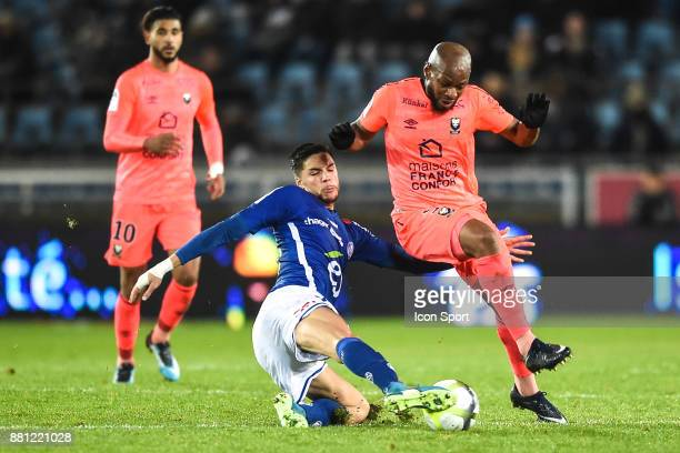 Jonas Martin of Strasbourg and Baissama Sankoh of Caen during the Ligue 1 match between RC Strasbourg and SM Caen at Stade de la Meinau on November...