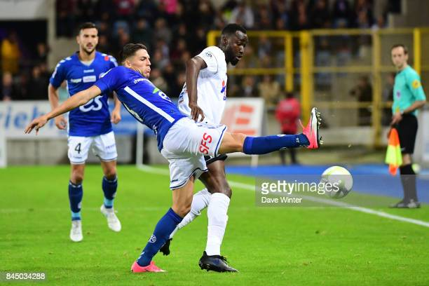 Jonas Martin of Strasbourg and Lacina Traore of Amiens during the Ligue 1 match between Strasbourg and Amiens SC at on September 9 2017 in Strasbourg...