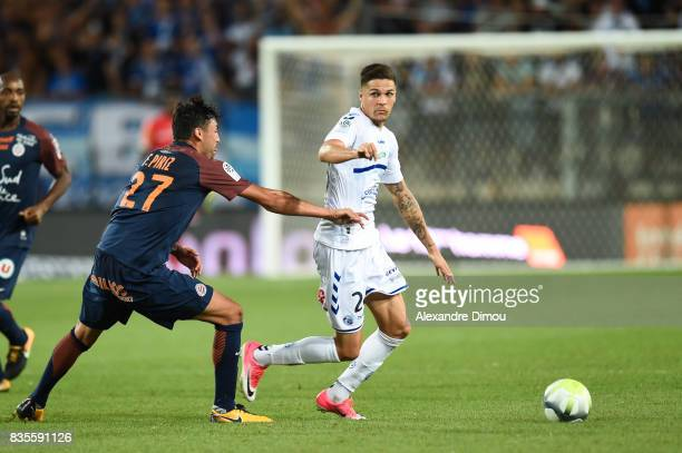 Jonas Martin of Strasbourg during the Ligue 1 match between Montpellier Herault SC and Strasbourg at Stade de la Mosson on August 19 2017 in...