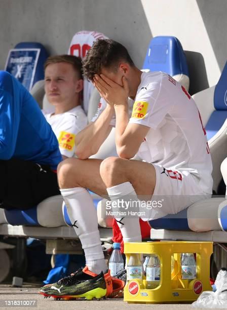 Jonas Meffert of Holstein Kiel looks dejected following the Second Bundesliga match between Karlsruher SC and Holstein Kiel at Wildparkstadion on May...