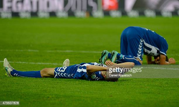 Jonas Meffert of Karlsruhe reacts after the Bundesliga Playoff second leg match between Karlsruher SC and Hamburger SV on June 1 2015 in Karlsruhe...