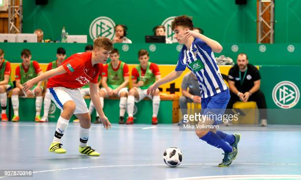 Jonas Michelbrink of Berlin fights for the ball during the DFB Indoor Football match between FC Astoria Walldorf and Hertha BSC on March 25 2018 in...