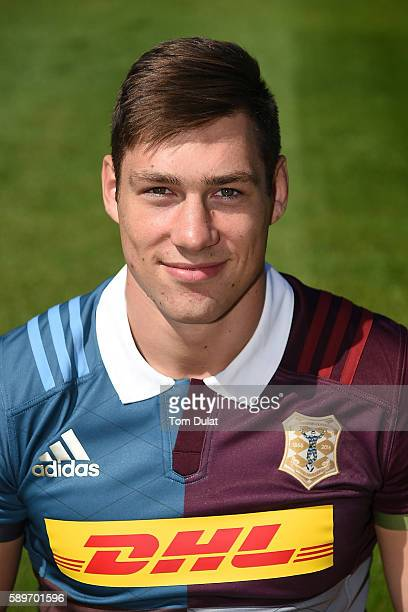 Jonas Mikalcius of Harlequins poses for a portrait during the Harlequins squad photo call for the 20162017 Aviva Premiership Rugby season at...
