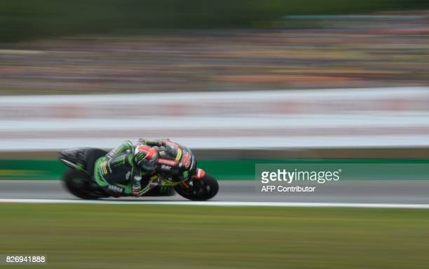 Jonas Monster Yamaha Tech 3's German rider Jonas Folger competes during the MotoGP event of the Grand Prix of the Czech Republic in Brno on August 6...