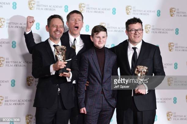 Jonas Mortensen Sam Spruell Dylan Naden and Colin O'Toole winners of the British Short Film award for the movie Coyboy Dave pose in the press room...