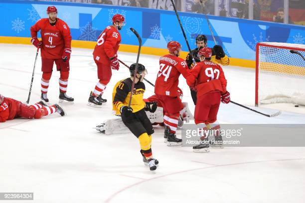 Jonas Muller of Germany celebrates scoring a goal in the third period against Vasili Koshechkin of Olympic Athlete from Russia during the Men's Gold...